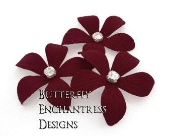 Wine Red Wedding Hair Piece, Bridal Hair Flowers, Rustic Hair Accessories - 3 Burgundy Caribbean Plumeria Hair Pins - Rhinestone Centers