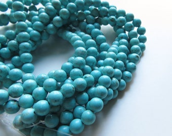 5mm Round Chinese Turquoise Beads - 5 strands