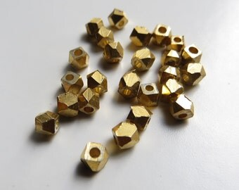 3mm Faceted Gold Metal Beads - 25 pieces