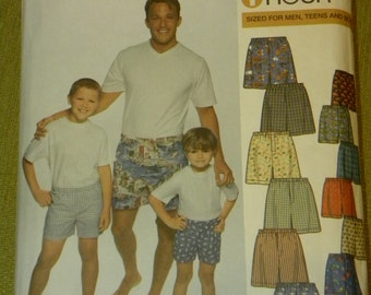 Simplicity 9958 Men Teen and Boy Boxer Shorts 1 hour Pattern UNCUT Underwear