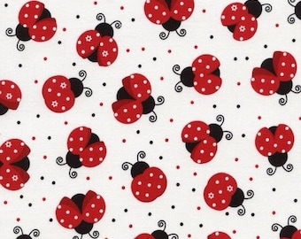 Timeless Treasures Fabric Lady Bugs by the yard C3616-White