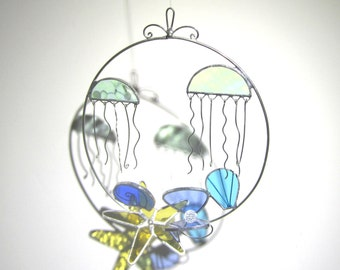Dancing Tentacles - 3D Stained Glass Nature Spinner - Jellyfish Ocean Beach Hanging Wire Suncatcher Ornament Sea Shells (READY TO SHIP)