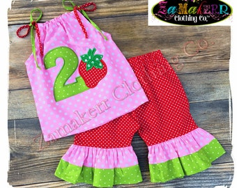 Birthday GIRL Strawberry Shorts Capri Pant Outfit Set Summer Sweet Top Pink Red Size 3m 6m 9m 9 12 18 24 month 2 2T 3 3T 4T 4 5T 5 6 7 8