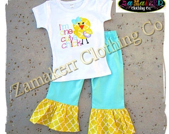 Girl Easter Chick Outfit Top Pant Set Infant Baby Birthday 1st Custom Boutique Clothing Size 3 6 9 12 18 24 month 2t 2 3 4 5 6 7 8 T