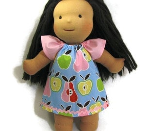 15 inch Waldorf doll dress, 14 inch Waldorf doll dress, apples and pears pastel doll dress and optional white bloomers