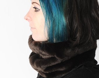 Faux fur snood, Brown fake fur cowl, Winter faux fur Cowl in dark brown with floral satin lining