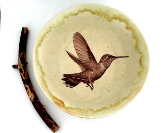 Centerpiece Bowl - Decorative Bowl - Stoneware Bowl - Hummingbird - 9 inch - Wheel Thrown Pottery - Stoneware