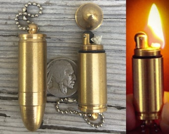 Bullet lighter keychain Pendant *BULK DISCOUNT* Solid Brass functional Bullet Lighter/ Paraphernalia/ Camping/ Biker Accessory T1 ajs