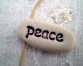 Peace Word Pendant, Intention Beads, Inspirational Word Bead, Peace Bracelet Charm, Peace Clay Bead, Jewelry Supply