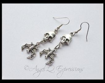 Blood Lust Children of the Night Skull and Vampire Bat Earrings