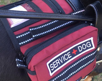 Backpack Service Dog vest for attaching to Guide, saddlebag vest for Mobility or Assistance type Harness, VEST ONLY