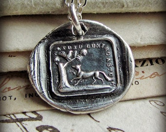 Words of Wisdom - The Fox and the Rooster - Aesop Fable wax seal necklace - Cunning Outwits Cunning - The Truth Always Prevails - IS310