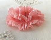 "Pleated Pink Soft 100% Silk Ribbon 1-1/4"" wide 1 Meter long"
