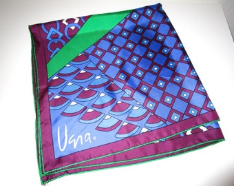 Vera Scarf - Argyle Geometric Print - 100% Silk - Gold Piece Collector Edition - Vintage
