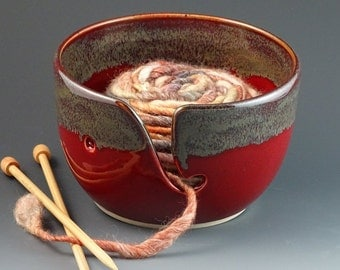 Knitting Yarn Bowl in Cranberry Red with Metallic Gray Rim