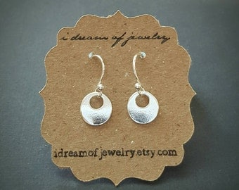 Tiny sterling silver earrings- circle, hook