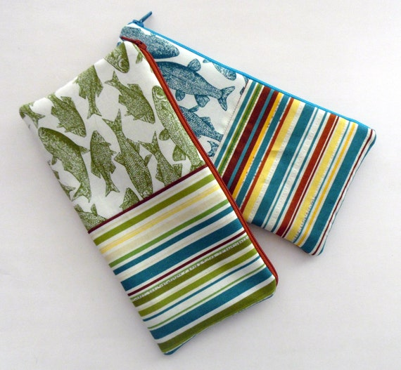 Fish pencil cases choice of green or teal fish pencil for Fish pencil case