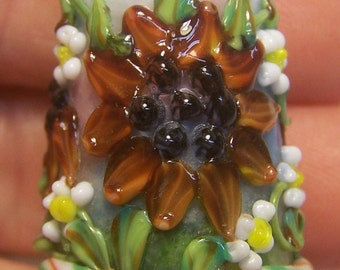Handmade Lampwork Glass Thimble -Rusty Sunflowers- SRA S105