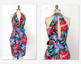 80s Halter Dress  Fitted Floral Cotton Keyhole Dress  Sz S