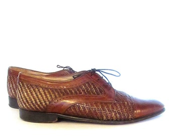 Sz 10M- Mens Oxfords Brown Woven Oxfords Captoe Leather Oxford Shoes