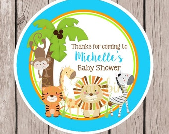 Jungle Animals Baby Shower Favor Tags or Stickers / Blue, Orange & Lime Green Jungle Birthday Favor Tags for Baby Shower / Set of 12