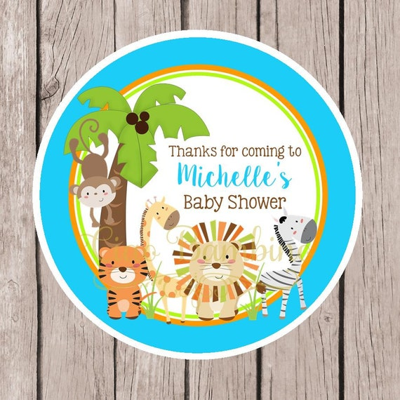 Animales De Selva Para Imprimir Baby Shower Favor Etiquetas