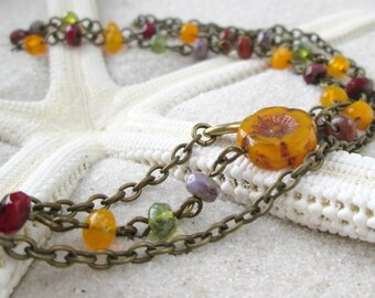 Beaded Necklace - Floral Necklace - Autumn Beaded Necklace - Boho Bead Necklace - Bohemian Necklace - Layering Necklace - Autumn Series16