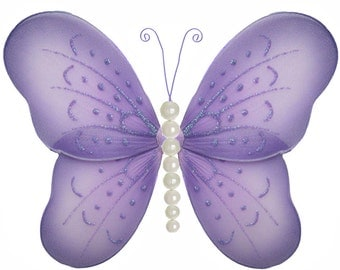 Butterfly Decoration, Hanging Nylon Butterfly, Nylon Butterfly, Butterfly Nursery Decor, Hanging Butterfly, Wall Decor, Baby Nursery Pearl