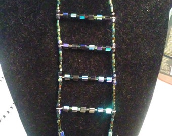 Black and Blue Ladder Necklace