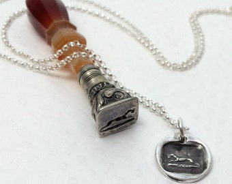 Posthaste Wax Seal Greyhound Necklace - Greyhound - Greyhound Jewelry - Antique Wax Seal Jewelry - Fine Silver - Whippet