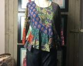 Reserved On sale 1990s blouse festival blouse patchwork top size medium Vintage blouse 90s shirt asymmetrical blouse