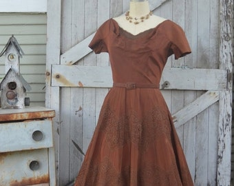 Sale 1950s brown taffeta dress 50s dress with full skirt size medium Vintage Parnes Feinstein party dress