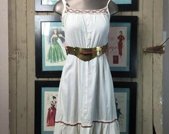 On sale 1970s peasant dress 70s sundress size small Vintage cotton sundress bohemain hippie