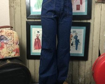 1970s jeans 70s high waist jeans dark denim size small Vintage jeans with cuffs 26 inch waist