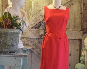 Fall sale 1950s dress red dress wiggle dress 50s dress hourglass dress size medium Vintage dress mad men dress