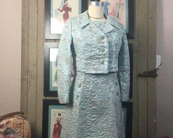 1960s brocade dress 60s 2 piece set size medium Vintage cocktail dress evening ensemble jackie o