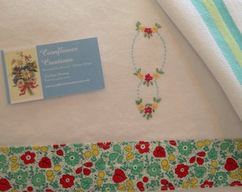 1920's Style - Hand Embroidered Vintage Style Flour Sack Tea Towel by Cornflower Creations