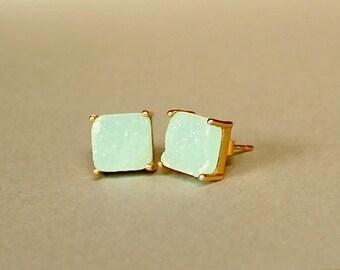 Jasper Druzzy Studs/Mint Jasper/Handmade Jewelry/Gift Ideas