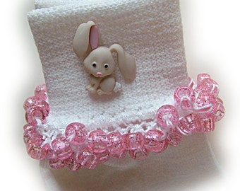 Kathy's Beaded Socks - Pink Bunny Socks, school socks, pony bead socks, pink glitter pony beads, rhinestone socks, bunny socks, Easter socks