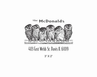 Six Owls Custom Return Address Rubber Stamp AD389
