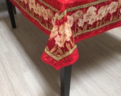 Christmas Tablecloth and Napkins, Holiday Tablecloth, Red Tablecloth