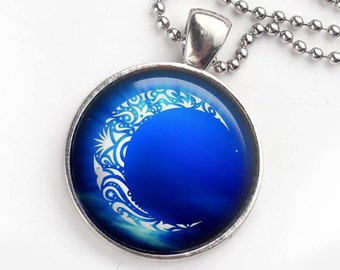 Crescent Moon Pendant, Blue Crescent Moon Necklace, Celestial Pendant, Blue Moon, Crescent Moon Necklace, Photo Pendant, New Age Gift