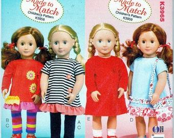 "Kwik Sew 3965 Doll 18"" Clothes Purse Dress Pants Sewing Pattern New"