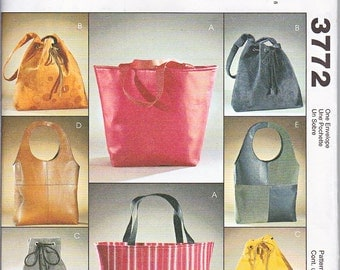 McCalls 3772 Lined Bags Handbags Purses Totes Carry-all Shopping Bags Sewing Pattern Out of Print UNCUT