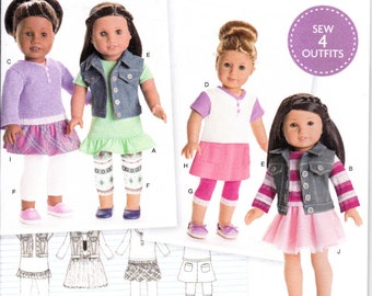 """Simplicity S0173 8041 American Girl 18"""" Doll Clothes 4 Outfits Sewing Pattern NEW UNCUT"""