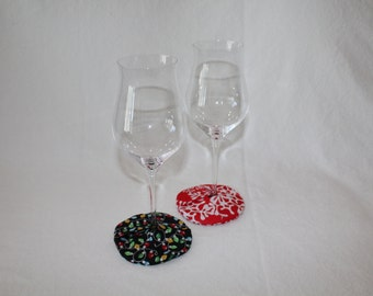 Holiday Lights and Snowflakes Fabric Wine Coasters set of 2