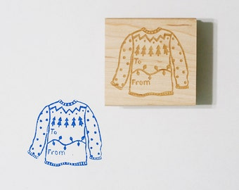 Christmas Sweater To From Rubber Stamp Holiday Gift Tag