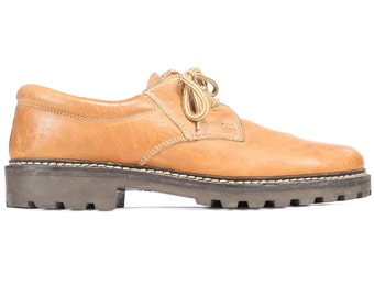 Us men 10 Platform Oxford Shoes for Men 80s Chunky Rugged Sole Beiger Sand Brown Leather Wide Fit Lace Up Derby Shoes  Size  eur 44, Uk 9.5