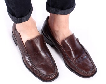 Men's Italian Loafers Shoes 80s Leather Slip On Deep Brown Retro Driver Shoes Hand Sewn Gift for Men sz Us men 10, Eur 44, Uk 9.5