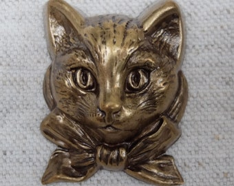 Vintage Cat Brass Stamping